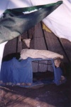 Sweat lodge inside the tipi