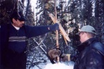 Walter and Mark check a trap on Walter's trapline as part of the trapper monitoring program run by Alberta-Pacific Forest Industries in northeastern Alberta