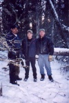 Walter Quinn, Walter's helper, and Mark Spafford on the trapline