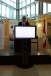 U of A's Peter Robertson addresses the audience which gathered for the TEC Edmonton launch on October 14, 2004
