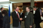 Peter Robertson greets a guest at the TEC Edmonton Launch