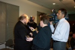 Dr. Pierre Boulanger meets the media at the iCORE launch at the U of A on March 15, 2005