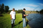 August 19, 2005 - Wayne and his son Aaron try their luck on the Red Deer River.This turned out not to be a good day to be fishing the Red Deer. After all the rain, the water was rising and it appeared water was being let out of the Dickson Dam just upstream. There was a lot of material rushing down the river, logs and such.