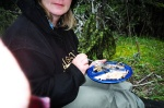 August 20, 2005 - Moi (aka Rubberboots, my new handle given to me by Pizza Man at The Zoo) eating breakfast at Pepper's Lake.  The trout here were as pink as salmon, and just as tasty, if not more so.